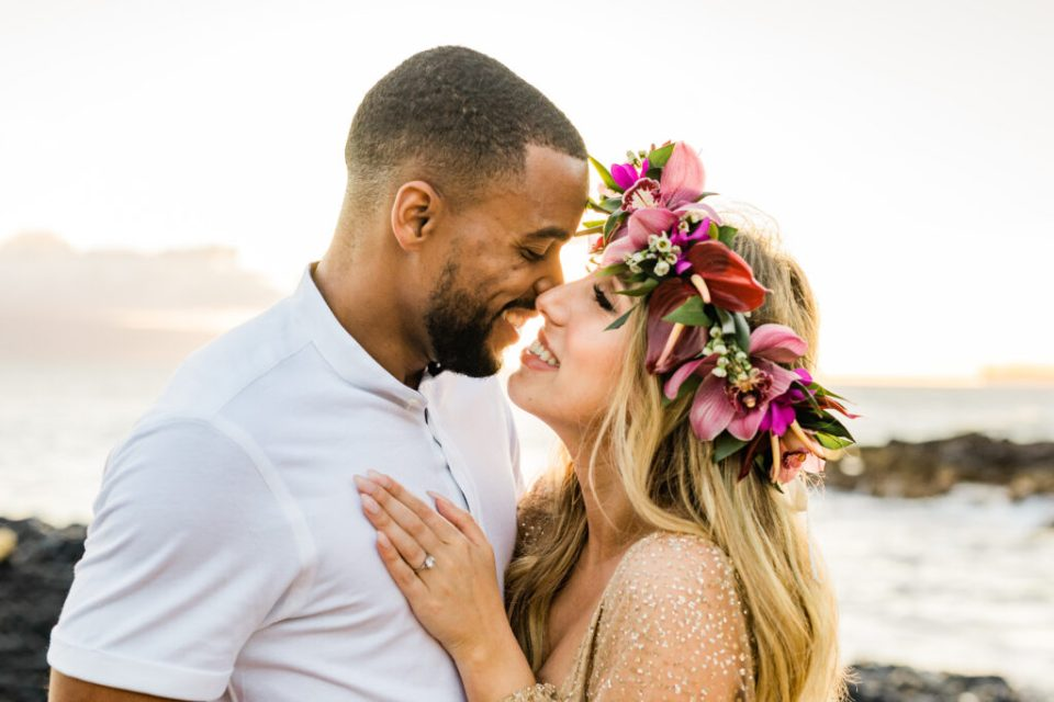 sunset beach engagement session in Hawaii
