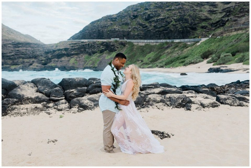 engagement session in Hawaii at sunset on the beach