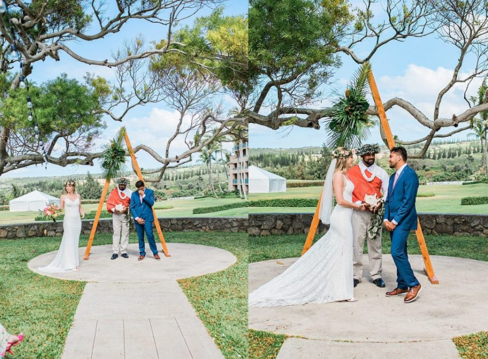 bride and groom at ceremony site at steeple house in maui
