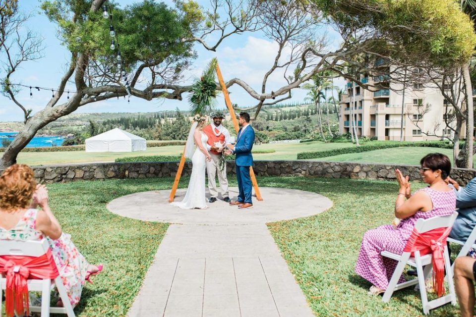 bride and groom getting married at steeple house wedding venue in maui
