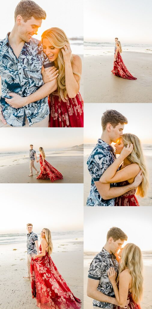 Sunset engagement session with couple at Torrey Pines Beach in San Diego, California