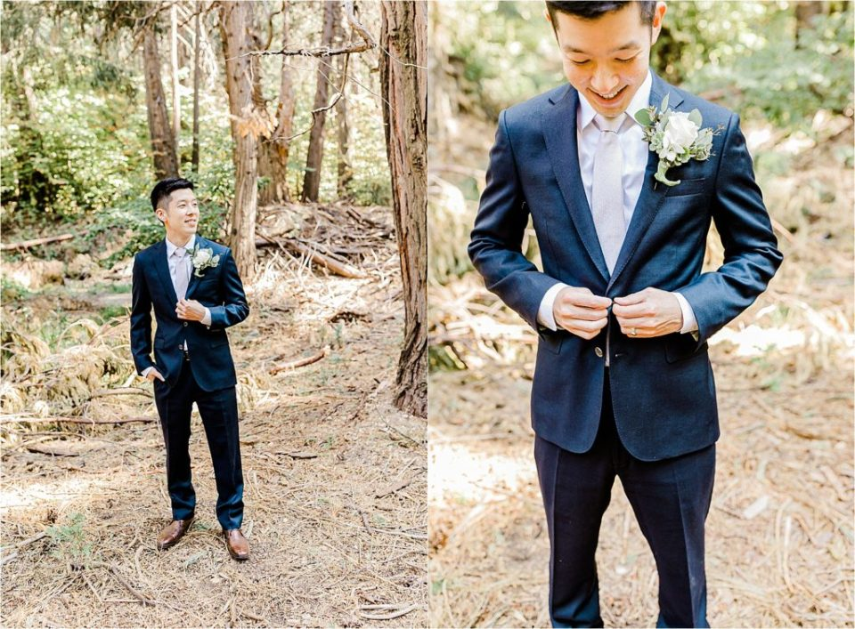 groom getting ready in forest