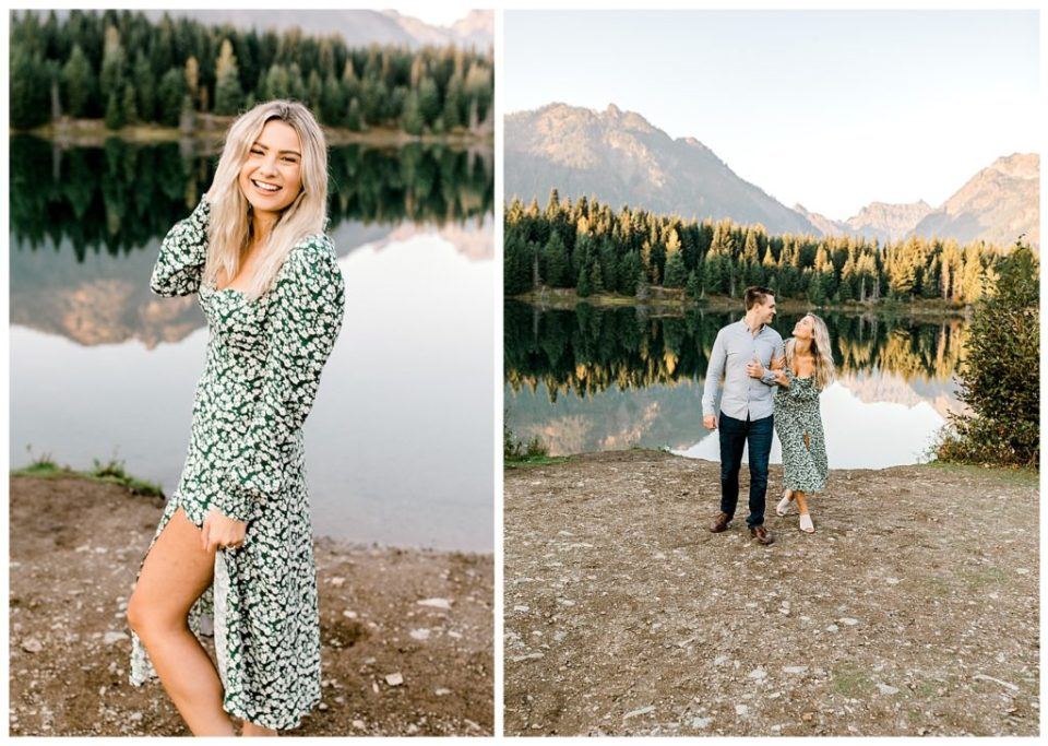 couple for engagement photos on a lake