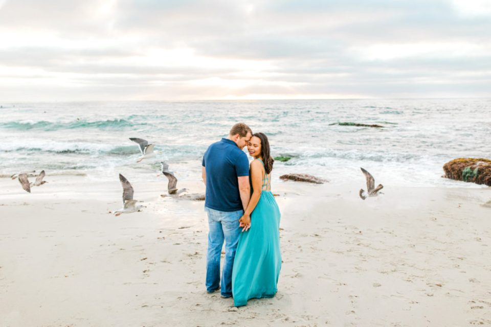 beach engagement session in san diego