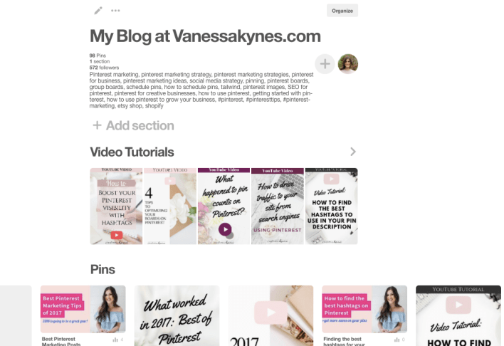 video tutorials for pinterest sections