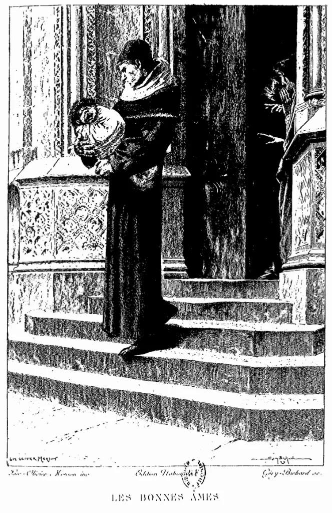 Frollo, quando pega Quasímodo para criar. O menino, por sua deformidade, tinha sido abandonado aos pé da igreja.