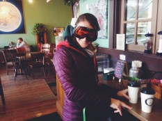Pre-ski coffee stop! Especially important for bad skiers.