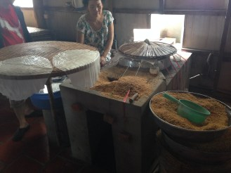 The rice paper treats being made.