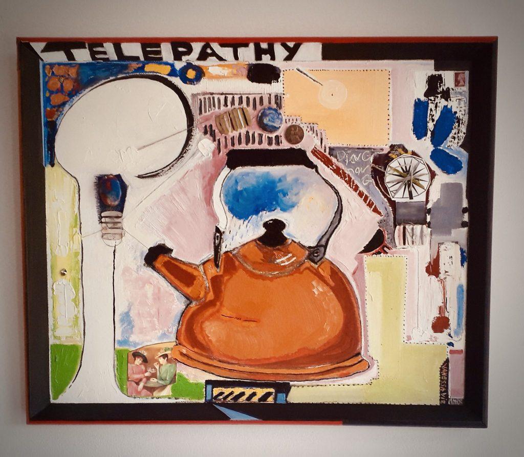Portrait of my Kettle, 2020, 58 x 72 cm, Oil & Collage on Board.