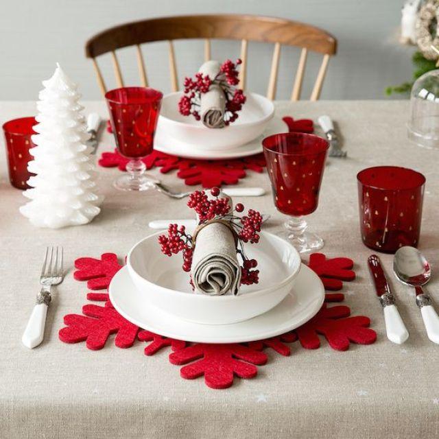 tavola di natale rossa