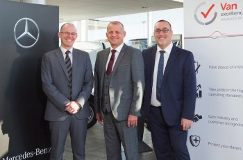 Andy Eccles of Mercedes-Benz Vans flanked by Northside Group fleet sales manager Darren Doleman, left, and Mark Cartwright of the FTA