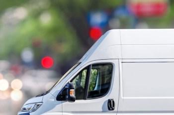 White van parked in town