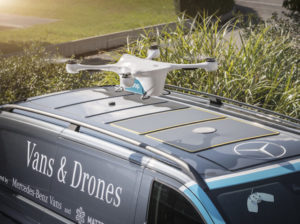 Matternet drone on top of Mercedes-Benz delivery van