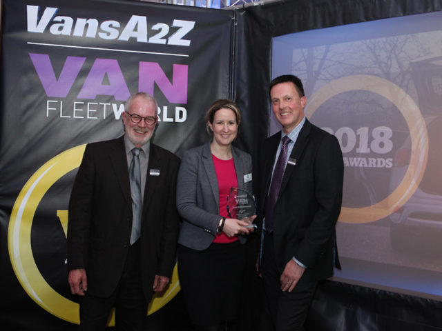 Amanda Gibson picks up the award for Best CDV, with Neil McIntee (left) and Dan Gilkes (right)