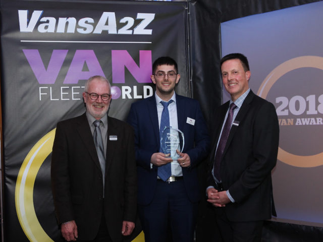 Cameron Javid picks up the award for Best Van Innovation, with Neil McIntee (left) and Dan Gilkes (right)