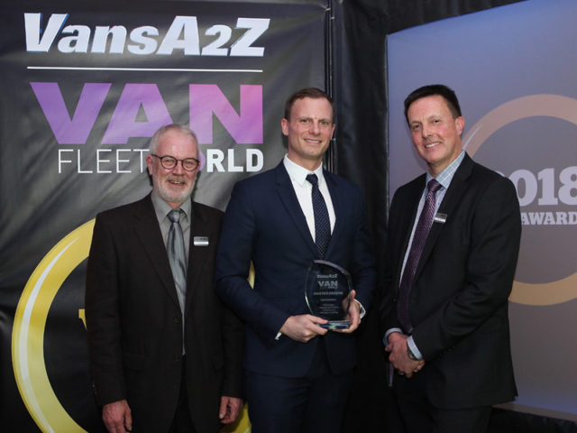 James Allit picks up the award for Best Van Safety, with Neil McIntee (left) and Dan Gilkes (right)