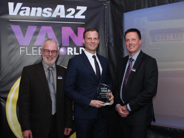 James Allit picks up the award for Best Light Panel Van, with Neil McIntee (left) and Dan Gilkes (right)