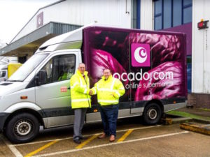 (L-R) Bridgestone's national fleet executive Neil Collison with Ocado's fleet service manager Graham Thomas