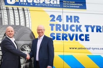 Jeremy Coleman from Mobileye (left) with Andrew Wright from Universal Tyres.