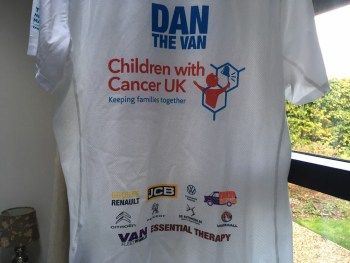 Dan's running shirt features many well-known sponsors