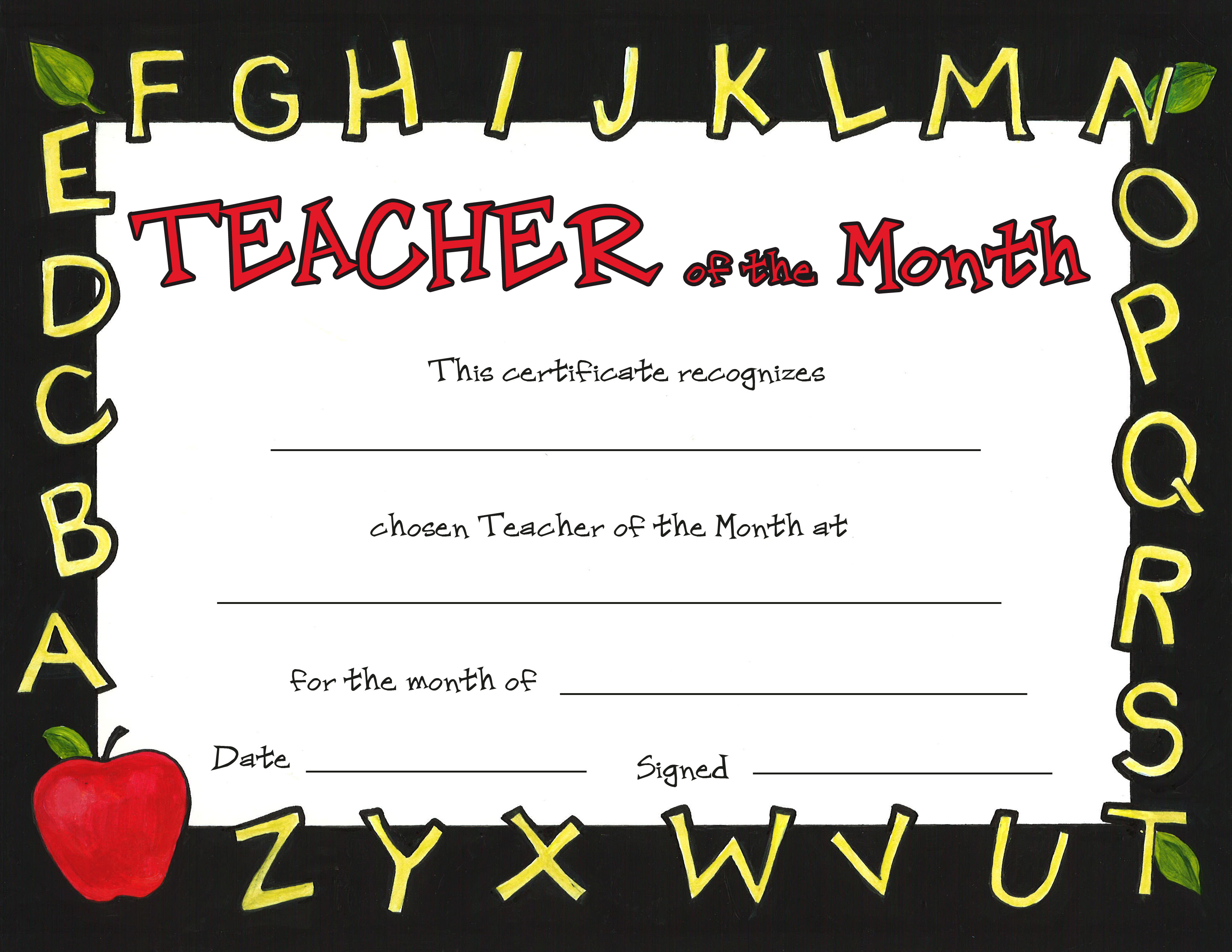 free printable student of the month certificate templates new award ...