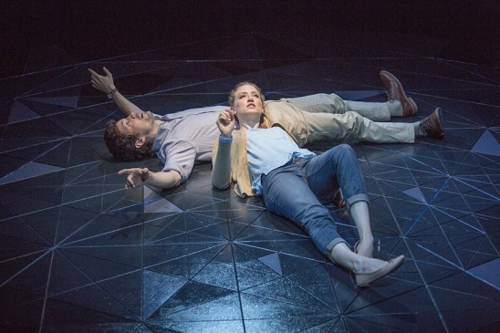 Christian Coulson stars as Roland and Victoria Frings as Marianne in Nick Payne's Constellations, directed by Richard Seer, April 9 – May 8, 2016 at The Old Globe. Photo by Jim Cox.