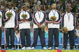 8/28/04 --Al Diaz/Miami Herald/KRT--Athens, Greece--Lituania vs USA during the Athens 2004 Olympic Games at Olympic Indoor Hall. USA wins the Bronze Medal defeating LTU 96-104. USA's Left to right, Emeka Okafor, Lebron James, Carmelo Anthony, Carlos Boozer and Dwyane Wade disappointed in only winning the Bronze Medal.