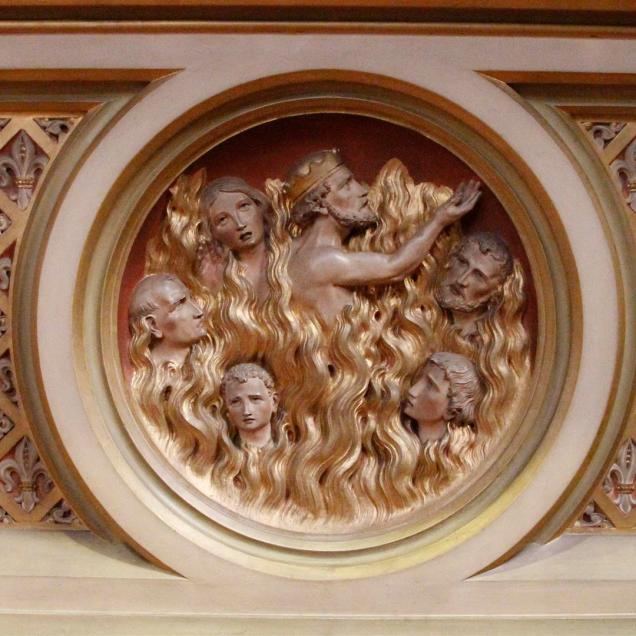 Het vagevuur in het medaillon op de tombe van het altaar van Nicolaas van Tolentino in de Paterskerk te Eindhoven.