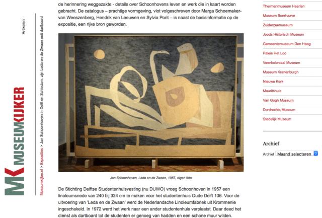 Jan Schoonhoven, Leda en de Zwaan (1957). Herkomst: site Museumkijker van F. Ledeboer (2015). Screenshot collage bvhh.nu 2018.
