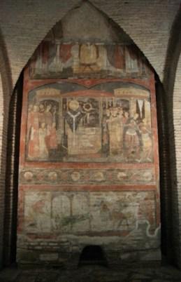 Clemens in de Legenda aurea: Clemens en Sisinnius (fresco San Clemente elfde eeuw).
