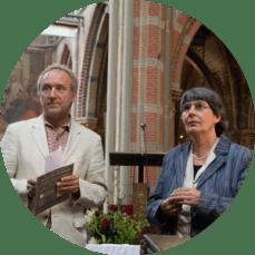 Menno Heling en Bernadette van Hellenberg Hubar, Laurentiuskerk Alkmaar, 12mei 2016. Foto Anton van Daal.