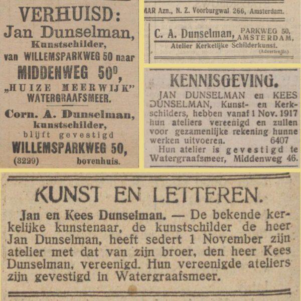 LauElKat2all | Het verloop van de carrière van Kees (C.A.) Dunselman in advertenties. Herkomst Delpher.nl. Collage bvhh.nu 2017.