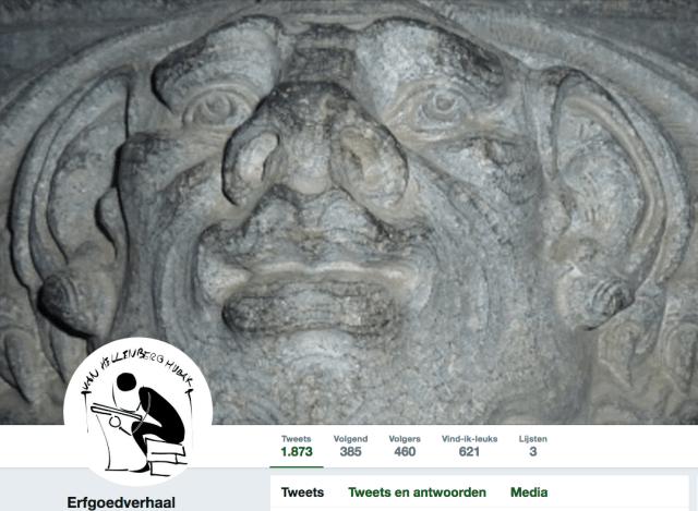 De header van @Erfgoedverhaal op Twitter met een van de ondeugden uit de nieuwe Bavo te Haarlem. Inmiddels is het aantal volgers gegroeid naar 449. Easy going is het motto! Screenshot bvhh.nu 2018.