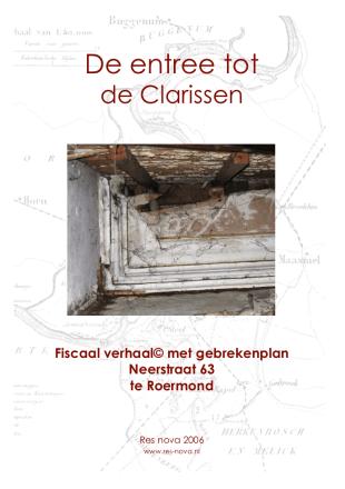 Fiscaal verhaal Neerstraat 63 Roermond, Res nova 2006. Omslag collage bvhh.nu 2006.