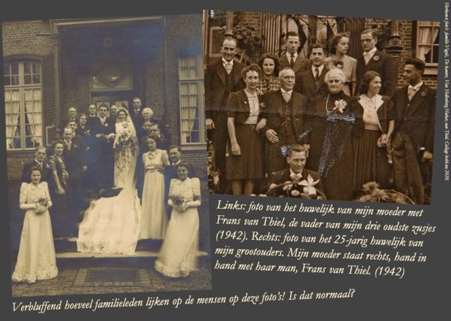 Collage met het huwelijk van mammie met Frans van Thiel en het 25-jarig huwelijk grootouders. Collage bvhh.nu 2020.
