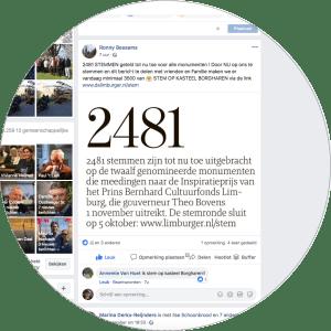Op Facebook heeft Ronnie Bessems van het genomineerde monument kasteel Borgharen te Borgharen voor veel reuring gezorgd. Screenshot bvhh.nu 2081.
