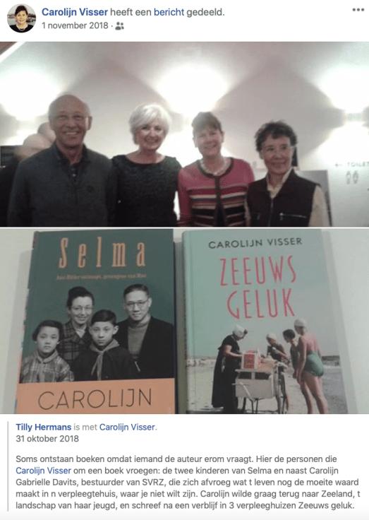 Selma | De kinderen Greta (rechts) en (Dop) Tseng Y Tsao (links) met Carolijn Visser (rechts midden). Screenshot bvhh.nu Facebook 31 oktober 2018.