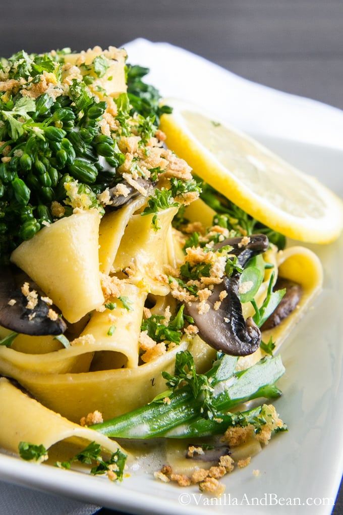 Pappardelle with Broccolini and Crunchy Gremolata   Vanilla And Bean