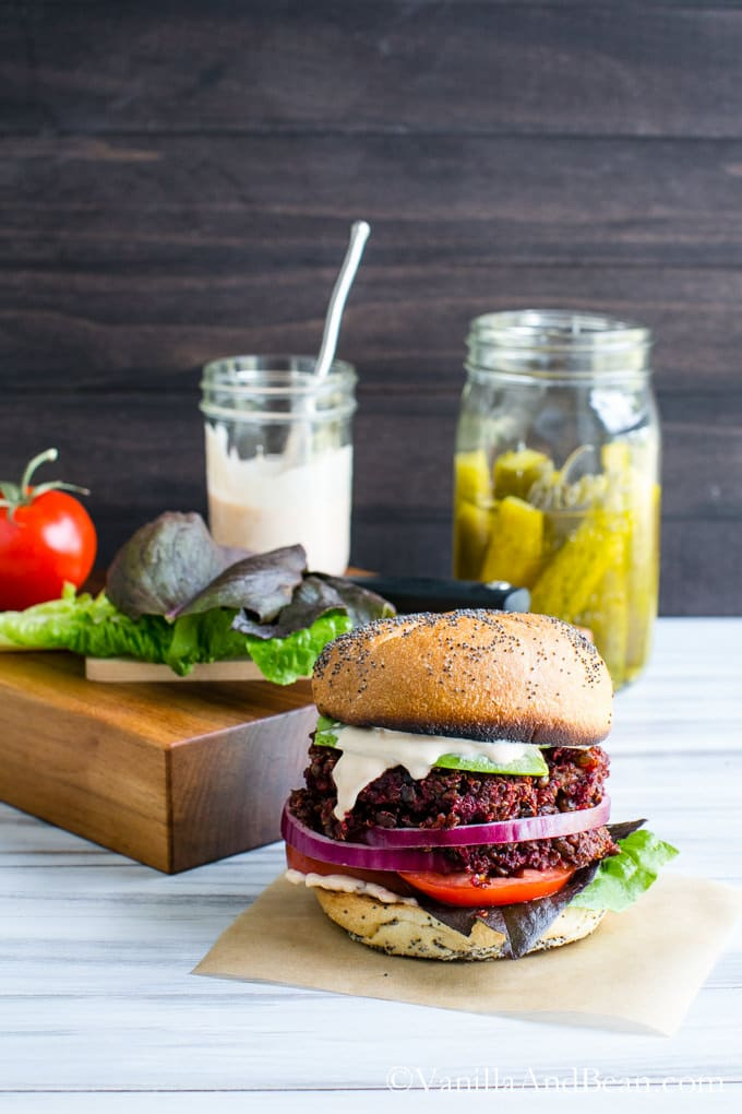Smoky Quinoa, Beet Veggie Burgers with Adobo Aioli | Vanilla And Bean