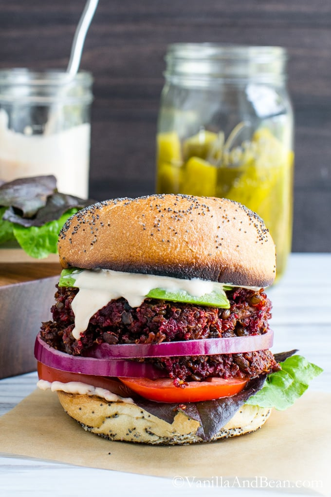 Smoky Quinoa, Beet Veggie Burgers with Adobo Aioli #Vegan | Vanilla And Bean