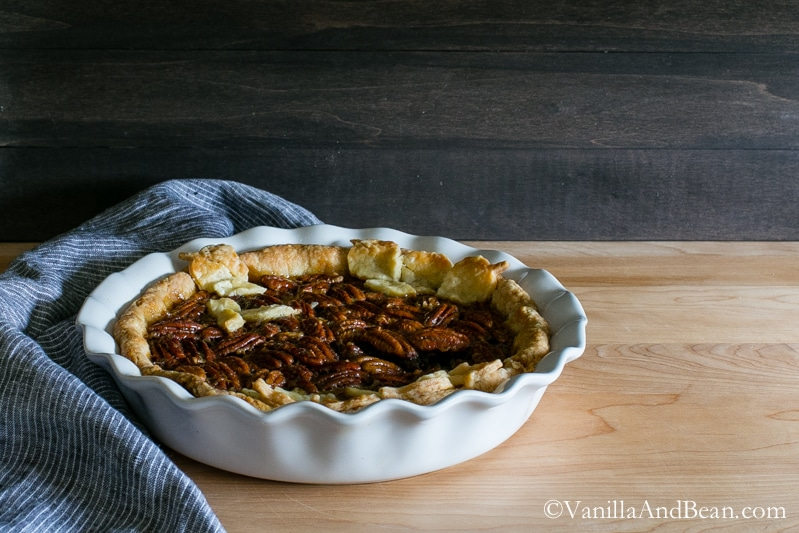 Southern Style Bourbon Pecan Pie is rich, buttery and sweetened with dark brown sugar and brown rice syrup cradled in an all butter buttermilk pastry. | Vanilla And Bean