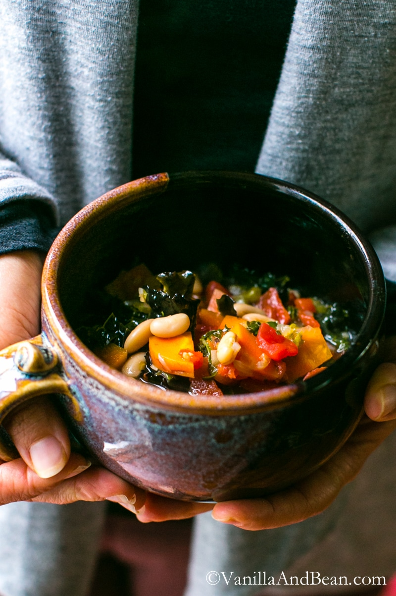 Quick and easy, a nourishing Italian Soup with white beans and kale. Vegan + GF | Vanilla And Bean