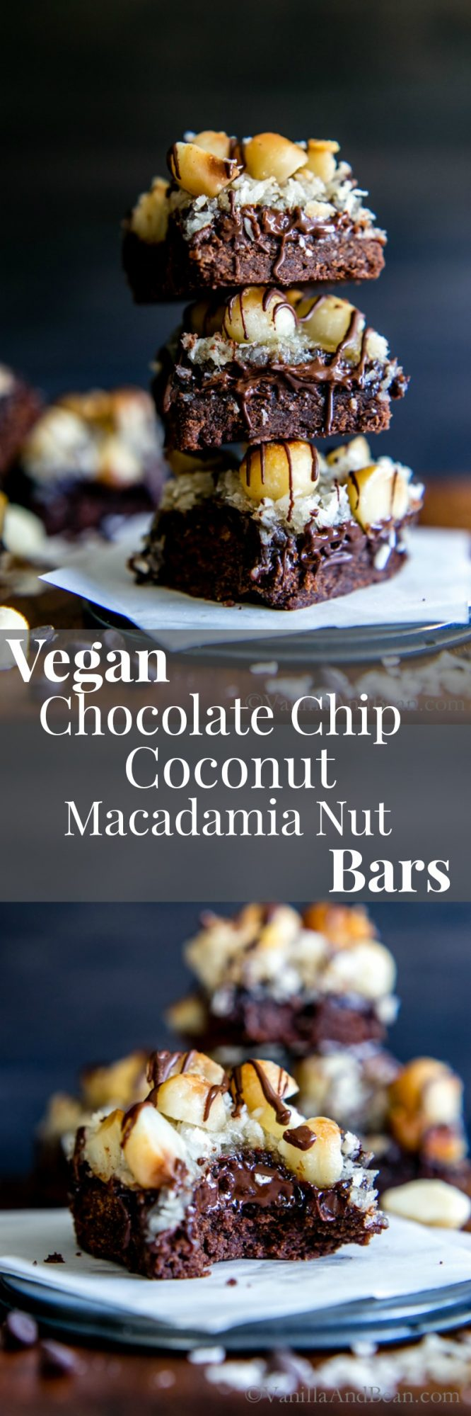 Chocolate cookie base topped with chocolate chips, coconut, macadamia nuts and coated in sweetened condensed coconut milk. Vegan Chocolate Chip Coconut Macadamia Nut Bars are melt in your mouth heaven.
