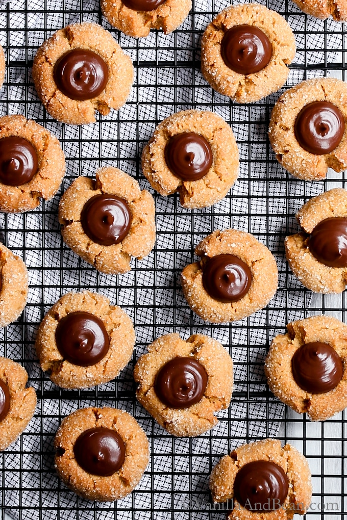 A tender and moist peanut butter cookie with an irresistible chocolate ganache center. Vegan Peanut Butter Kisses are easy to make, and fun to share! Vegan, Dairy Free, Egg Free, Recipe.