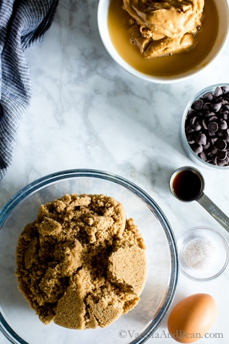 Mixing the ingredients: Flourless Peanut Butter Chocolate Chip Cookies from Kathryne Taylor's new cookbookLove Real Food have a whole jar of peanut butter in there! Tender, rich and oh SO peanut-buttery! Gluten-Free | Grain Free | Recipe | Cookies |