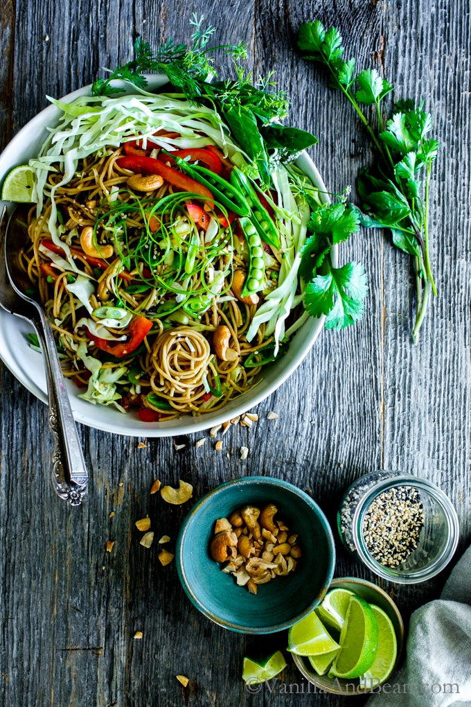 A flavor packed dressing with crunchy veggies, Sesame-Ginger Noodle Salad with Cashews comes together with ease. Make once, eat all week! Vegan + Optionally Gluten Free | Vegetarian | Dinner | Lunch | Meal Prep