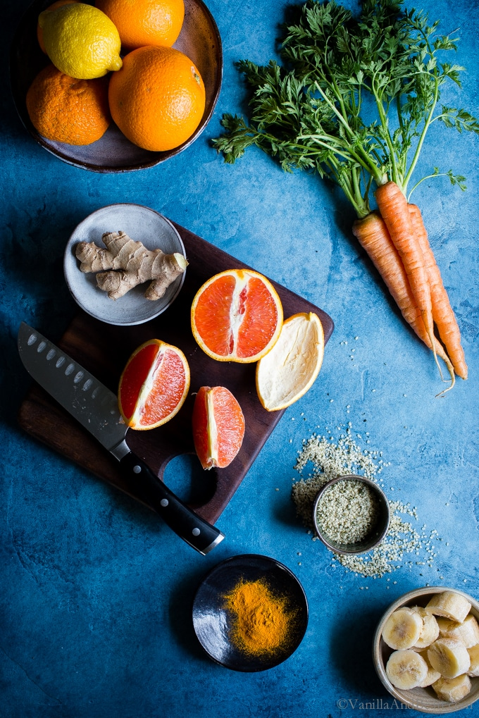 For the coldest months of the year, add a little sunshine to your routine with aCarrot-Ginger Citrus Immune Boosting Smoothie. It comes together fast and is an easy way to start the day on a healthy note. Vegan + Gluten Free