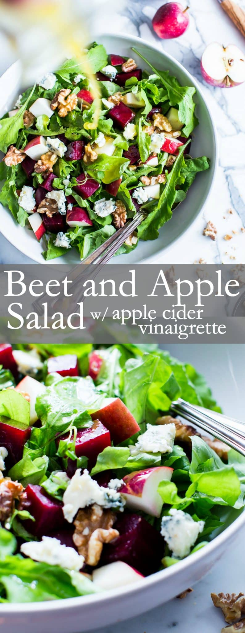 Nourishing fall flavors come together in this simple yet flavor packed salad. With a snappy dressing, Beet and Apple Salad with Apple Cider Vinaigrette is versatile enough to pull together with your favorite greens. | #VegetarianSalad #Vegan Option #GlutenFree