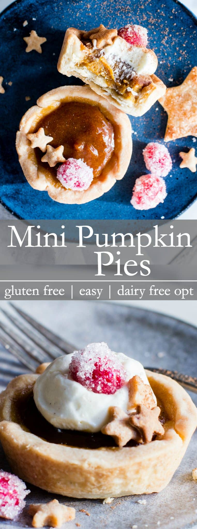 For holiday baking and easy sharing, these Gluten Free Mini Pumpkin Pies are simple to pull together. With a crispy, all the way around, pastry, and creamy center with balanced spice and not too much sugar, these little confections are pure pumpkin pie bliss! #PumpkinPie #MiniPumpkinPie #glutenfree + #dairyfree option (ad)