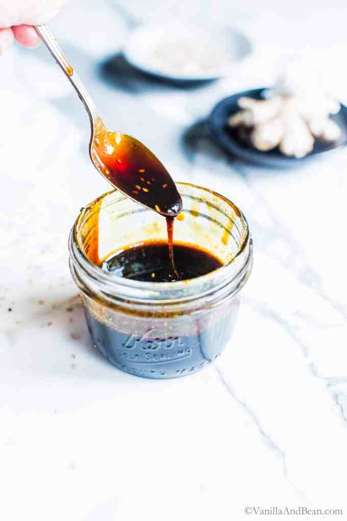 Tangy, sweet, salty and oh so simple to make! Ginger-Garlic Teriyaki Sauce is freezer friendly and a condiment to keep on hand to whip up easy week night stir fries! #glutenFreeTeriyaki #VeganTeriyaki #TeriyakiSauce #TeriyakiStirfry